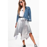 Metallic Asymmetric Skirt - silver