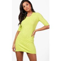 Short Sleeve Shift Dress - lime