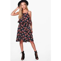 All Over Printed Strappy Swing Dress - black