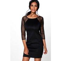 Mesh Sleeve Bodycon Dress - black