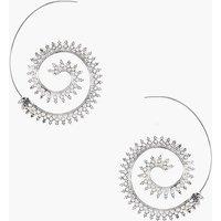 Boho Scroll Hoop Earrings - silver