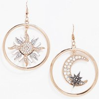 Diamante Moon and Sun Earrings - gold