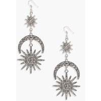 boohoo Statement Diamante Sun Moon Earrings - silver