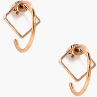 Diamond Stud Hoop Earrings - gold