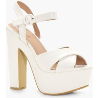 Cross Strap Platform Heels - white