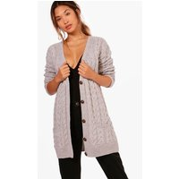 Cable Knit Cardigan - silver
