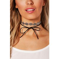 Boho Coin And Suedette Tie Choker Set - silver