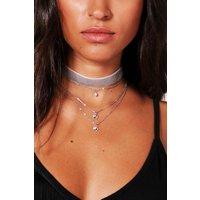 Layered Velvet And Diamante Chain Choker - grey