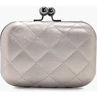 Quilted Box Clutch - silver