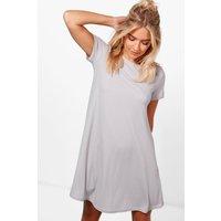 Rib Knit Short Sleeve Swing Dress - grey