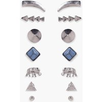Mixed Stud Earring 7 Pack - silver