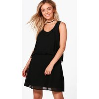 Double Layer Crochet Trim Skater Dress - black