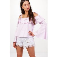 Tie Bell Sleeve Off The Shoulder Top - lilac