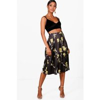 Large Floral Box Pleat Midi Skirt - black