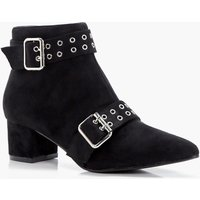 Buckle and Eyelet Pointed Ankle Boots - black