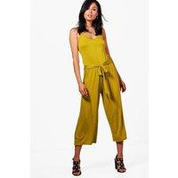 Tie Belt Culotte Jumpsuits - lime