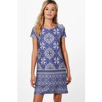 Paisley Border Print Shift Dress - blue