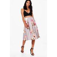 Floral Box Pleat Midi Skirt - grey