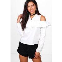 Cold Shoulder Ruffle Shirt - white