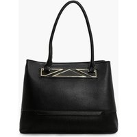 Metal Detail Tote Bag - black