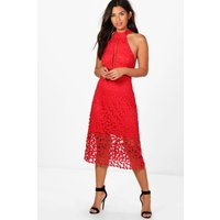Em Lace Panelled Midi Skater Dress - red