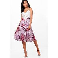 Digital Floral Box Pleat Midi Skirt - mauve