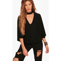 Choker Slouchy Split Back T-Shirt - black