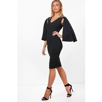 Cape Sleeve Fitted Dress - black