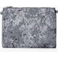 Velvet Zip Top Clutch Bag - silver