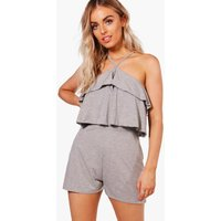 Ruffle Cold Shoulder Playsuit - grey