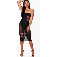 Mesh Net Applique Detail Midi Dress - black