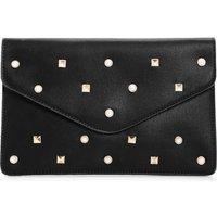 Pearl & Stud Clutch Bag - black