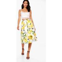 Lemon Print Box Pleat Full Midi Skirt - yellow