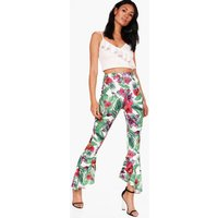 Tropical Palm Dipped Ruffle Hem Trousers - white