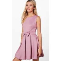 Bow Front Pleat Skirt Skater Dress - lilac
