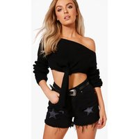Tie Front Crop Jumper - black