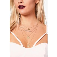 Bead Triple Coin Layered Necklace - gold