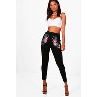 Embroidered Detail Skinny Trousers - black