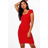 Sweetheart Neck Midi Dress - red