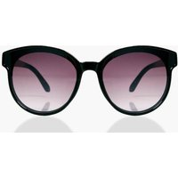Smoke Lens Round Sunglasses - black