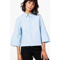 Flute Sleeve Crop Shirt - blue