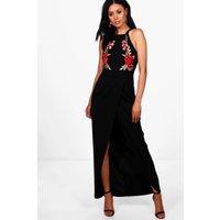 Callie Applique Wrap Front Maxi Dress - black