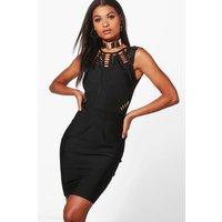 Kiki Gold Trim Bodycon Dress - black