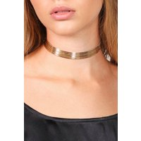 Rib Metallic Choker - gold