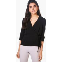 Wrap Over Tie Top - black