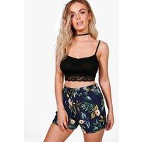 Floral Print Shorts - navy