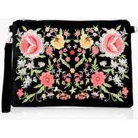 All Over Embroidered Clutch - black