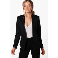 boohoo Lined Zip Detail Tailored Blazer - black