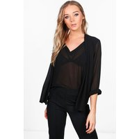 2 in 1 Woven Shirt Blouse - black