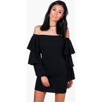 Off The Shoulder Ruffle Bodycon Dress - black